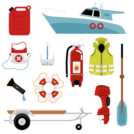 Set of sea motor boats and life saving equipment, flat vector illustration isolated on white background. Beach lifeguard station icons or symbols collection.