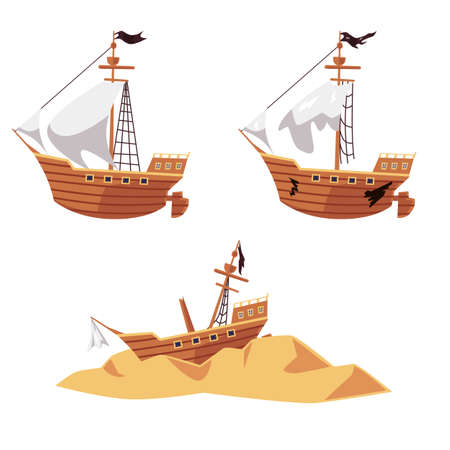 Pirate ship wreck process set - new boat with black flag, old and broken sailboat and shipwreck parts on sand. Flat isolated vector illustration collection of ship run aground.