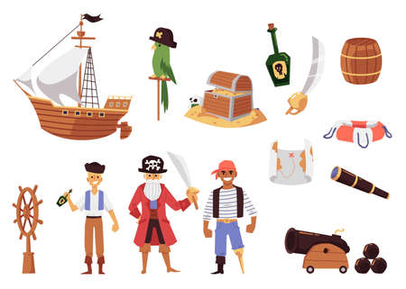 Cartoon pirate set - sailboat ship, treasure chest and map, sailing objects and weapons isolated on white background. Flat vector illustration of pirate adventure symbols.