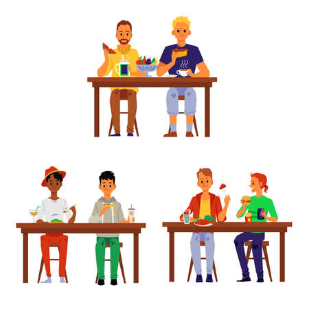 Cartoon people eating together - set of men couples sitting at table and having lunch or dinner isolated on white background. Vector illustration of friends at meal. Stock Illustratie