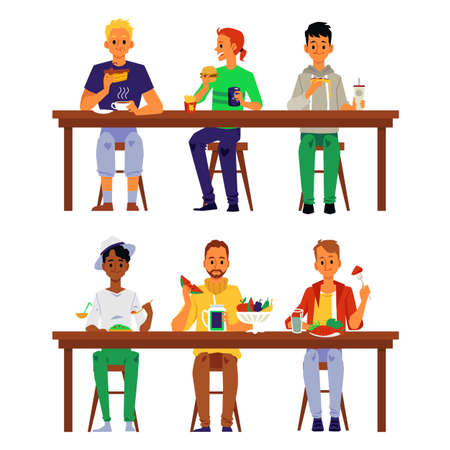 People eating food together at lunch table - cartoon men with different diets sitting by three and having meals isolated on white background. Vector illustration.