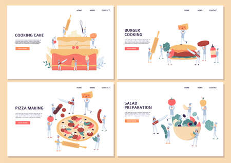 Website pages set for takeaway food with tiny chiefs preparing various food, flat vector illustration. Landing pages collection for pastry, vegan and meat restaurants. Ilustração