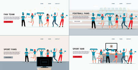 Football or soccer fans sport club web pages set with group of fans with ribbons and flags, flat vector illustration. Landing page for football championship event.