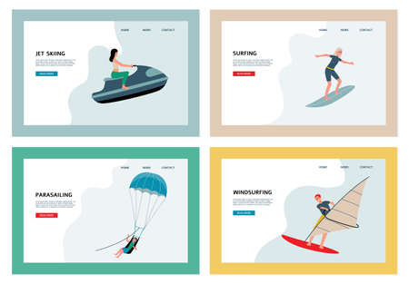 Outdoor activities on the sea or ocean. Water extreme sports. A set of flat cartoon vector illustration. Landing pages templates.