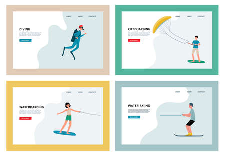 Water extreme sport and tourist beach entertaining activity web pages set, flat vector illustration. Landing pages for water sports with surfing and diving people.