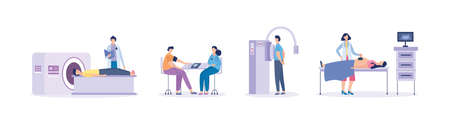 Medical examination using MRI and ultrasound equipment set of scenes with doctor and patient characters, flat vector illustration isolated on white background. Ilustração