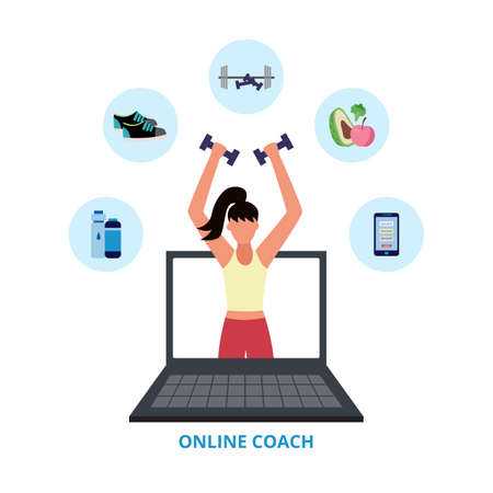 Online coach banner - female personal fitness trainer coming out of laptop screen holding gym equipment. Woman in exercise program website - flat isolated vector illustration. Vectores