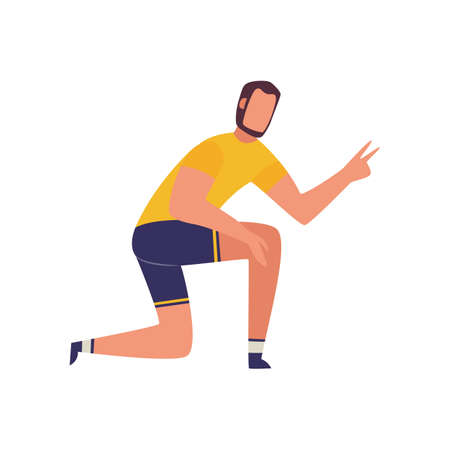 Sport trainer demanding two more exercise repetitions - cartoon fitness coach man sitting on one knee and doing hand gesture. Flat isolated vector illustration.