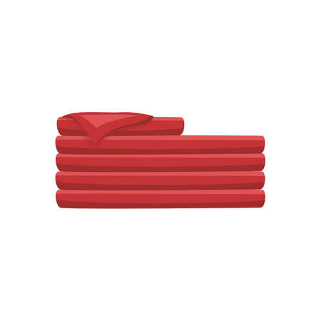 Pile of folded red bath towels cartoon icon or symbol, flat vector illustration isolated on white background. Spa bathhouse procedure or bathroom washcloth sign.