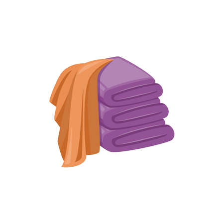 Isolated stack of clean purple towels and brown washing cloth draped over them. Spa bathroom decoration elements on white background, flat vector illustration.