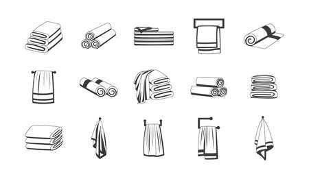 Bath towels outline monochrome graphic icons set, sketch cartoon vector illustration isolated on white background. Bathroom textile accessories collection.