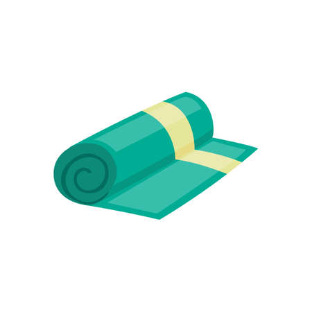 Green rolled kitchen or bath soft fabric towel cartoon icon, flat vector illustration isolated on white background. Home or hotel textile sign or symbol.