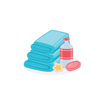 Isolated bathroom objects - fresh towel stack, shampoo bottle, bar of soap and flower on white background. SPA hygiene procedure elements - flat vector illustration.