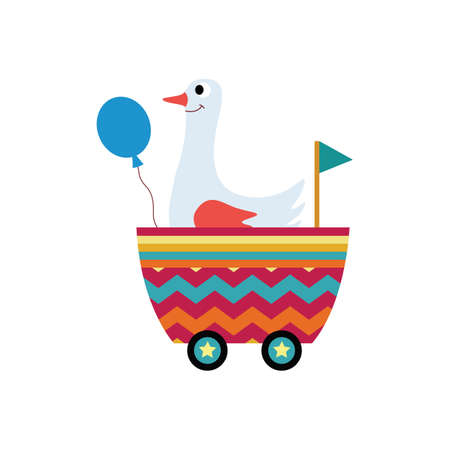Cute white goose bird cartoon character in children railroad carriage, flat vector illustration isolated on white background. Kids toy train wagon colorful icon. Illustration