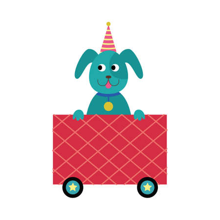 Cute puppy or dog cartoon character in birthday hat riding in children railway carriage, flat vector illustration isolated on white background. Kids toy train wagon.