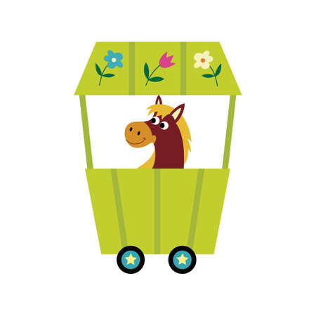 Funny horse cartoon character in children train, flat vector illustration isolated on white background. Kids railway print design for textile and cards.
