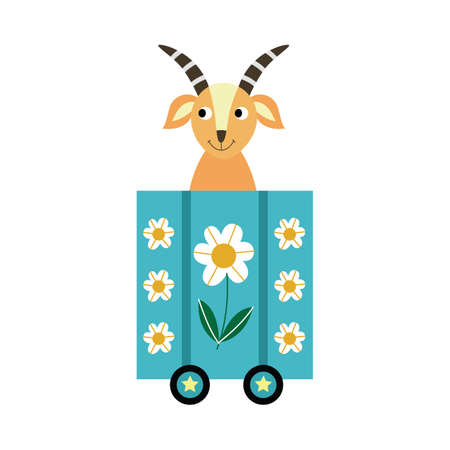 Funny cute goat sitting in railway wagon, flat cartoon vector illustration isolated on white background. Adorable animal print for children clothing and cards. Illustration