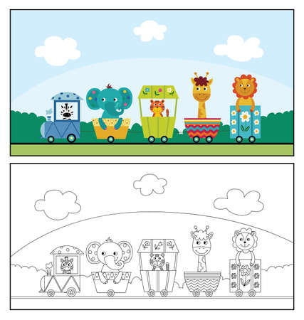 Cute cartoon animal train in colorful and colorless form - elephant, lion, zebra and other safari animals riding together. Coloring book before and after - flat vector illustration 矢量图像