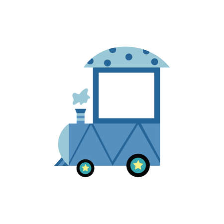 Light blue cartoon locomotive train front cart with nobody inside - flat vector illustration isolated on white background. Empty toy wagon with chimney smoke.
