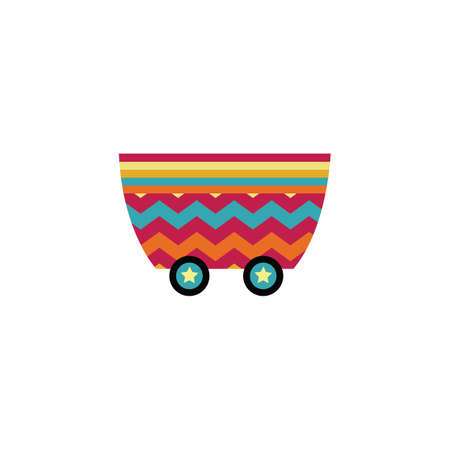 Colorful train wagon with star wheels isolated on white background - childrens cartoon transport toy with bright stripes. Wheeled cart basket - flat vector illustration
