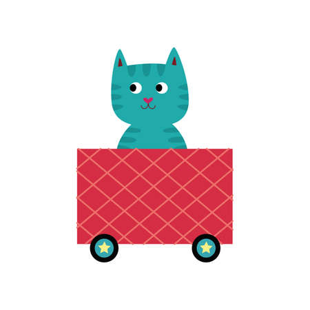 Blue cartoon cat sitting in pink locomotive train wagon and smiling - cute baby kitten on toy cart ride isolated on white background. Flat vector illustration. Illustration