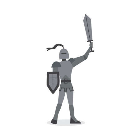 Medieval knight in armor and helmet with sword cartoon character, flat vector illustration isolated on white background. Historic ancient soldier or warrior.