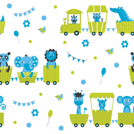 Cartoon animals riding toy locomotive train - seamless pattern with cute baby elephant, giraffe, lion and other wildlife. Safari background - flat vector illustration.