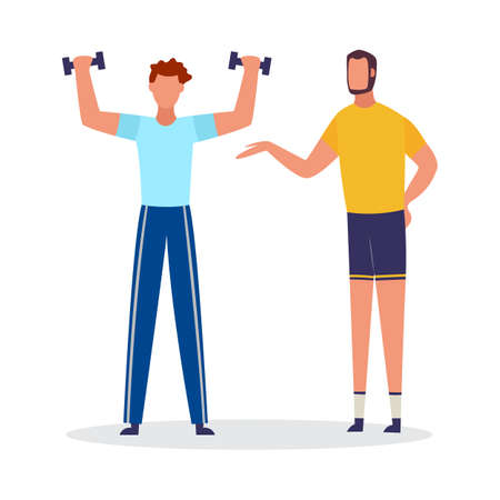 Cartoon man lifting weights with personal coach. Sport coach helping client exercise arm strength with dumbbells - flat isolated vector illustration. 向量圖像