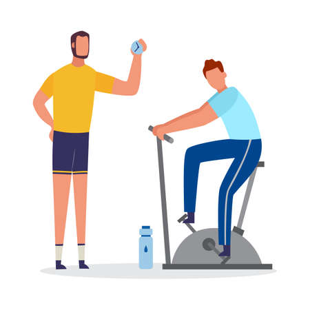 Preparing an athlete for sport competition or personal coaching scene with men cartoon characters, flat vector illustration isolated on white background. 向量圖像