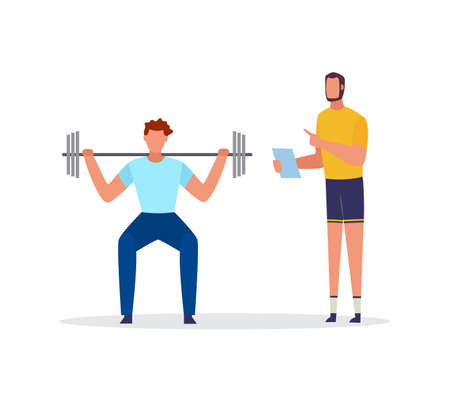 Lift Power sportsman training by individual plan with personal coach or trainer, flat vector illustration isolated on white background. Fitness and sport concept.