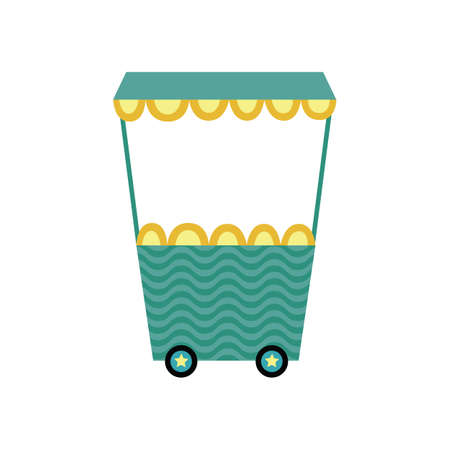 Cartoon icon or symbol of colorful toy train wagon, flat vector illustration isolated on white background. Decorative print of funny children railway carriage.