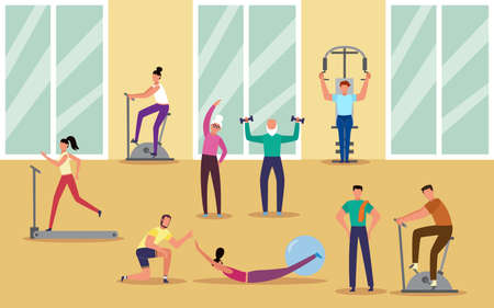 Various age and gender people doing sport at fitness center by supervising of personal coach, vector illustration. Gym interior background with men and women exercising.