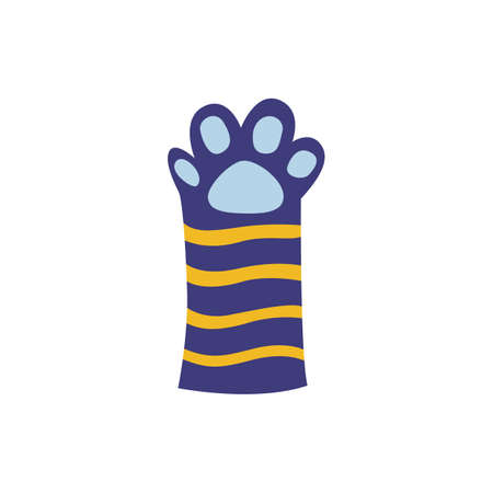 Cat or kitten striped paw cartoon blue icon, flat vector illustration isolated on white background. Pets animal foot image for t-shirt prints and decoration.