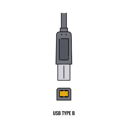 USB type B cable and plug connector isolated on white background - modern technology hardware elements. Flat vector illustration.