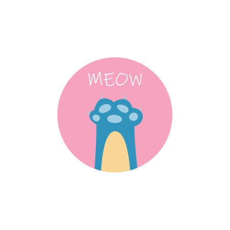 Meow - flat doodle of blue cats paw in pink circle. Cartoon sticker of pet animal foot with funny claws and toe beans, vector illustration isolated on white background