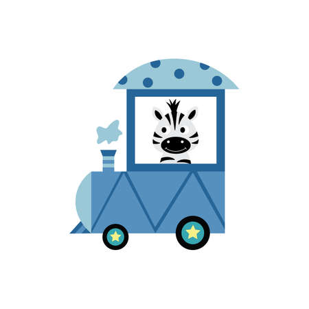 Cute cartoon zebra sitting in train wagon - exotic striped baby animal smiling and riding a locomotive cart isolated on white background. Flat vector illustration.