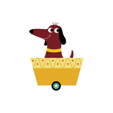 Cute cartoon beagle dog sitting in yellow train cart and smiling - happy pet animal riding in one-wheel wagon. Flat vector illustration isolated on white background. Illustration