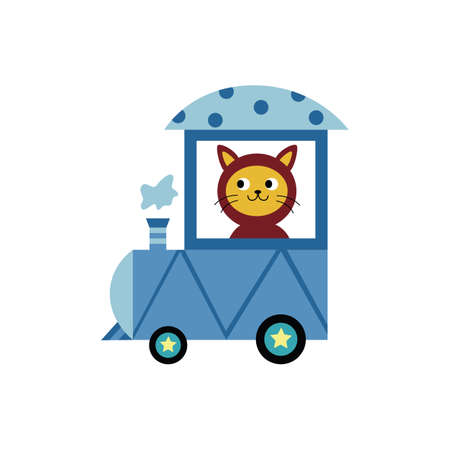 Cute cat cartoon character a steam engine driver, flat vector illustration isolated on white background. Decorative print design of funny animal riding toy train. Illustration