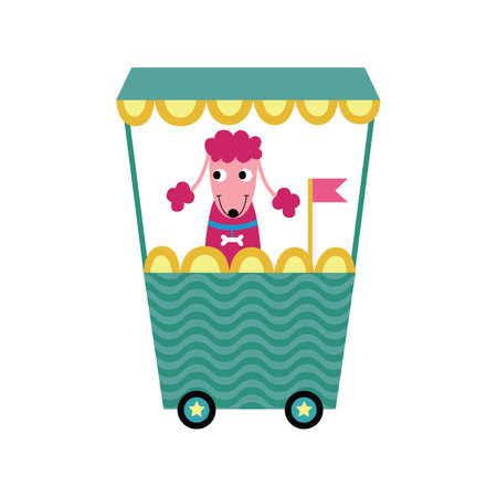 Pink poodle dog sitting on green train wagon - cartoon pet using transportation. Funny animal smiling on locomotive ride - flat vector illustration for children book.
