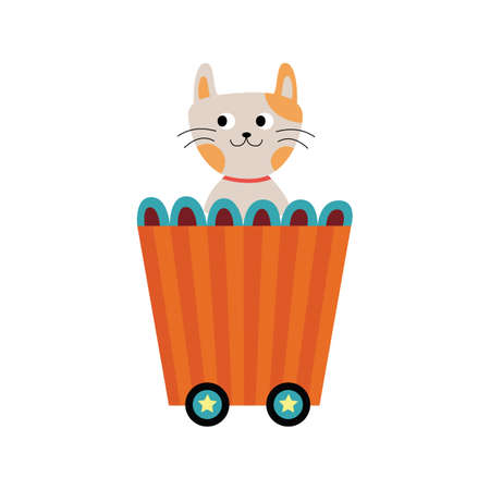 Cute cat cartoon character in children railway wagon, flat vector illustration isolated on white background. Funny kitten in train - childish print design.