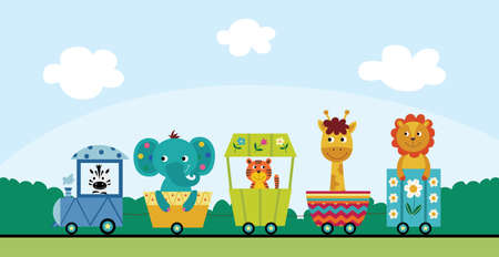 Summer landscape background with funny cartoon animals characters riding railway, flat vector illustration. Children toy train image with african animals. Illustration