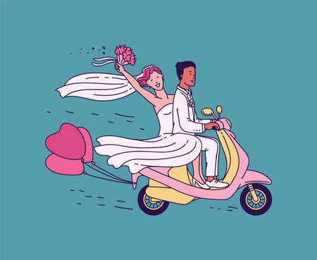 Newlyweds just married couple riding motorcycle sketch vector illustration on blue background. Bride and groom cartoon character in honeymoon travel on scooter.