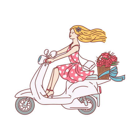 Blonde woman riding a white scooter and smiling - modern urban transportation rider. Cartoon girl sitting on motorcycle with flower basket - flat isolated vector illustration Ilustracja