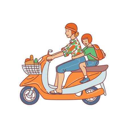 Woman and child cartoon characters riding moped or motorcycle vector illustration in sketch style isolated on white background. Urban transportation and modern lifestyle. Ilustracja