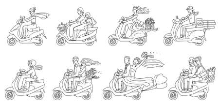Cartoon people riding scooters - flat colorless set of newlywed and old couple, traveling men and women, pizza delivery using a vehicle, isolated vector illustration Ilustracja