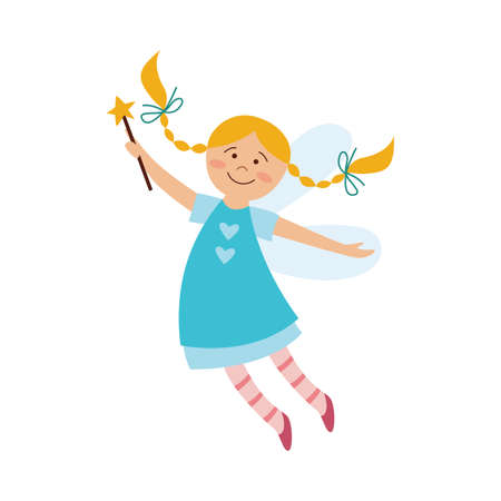 Beautiful fairy girl blonde with a magic wand and wings in a blue dress, isolated flat cartoon vector illustration.
