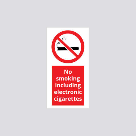 Sign No smoking including electronic cigarettes. Sign, symbol and icon prohibiting smoking of cigarettes including electronic. Isolated vector illustration.