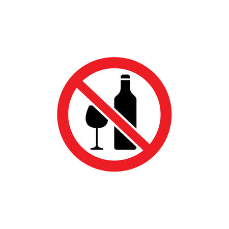 No alcoholic beverages icon or drinks forbidden symbol red and black vector illustration isolated on white background. Warning notice sign prohibiting alcohol use.