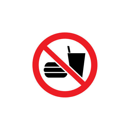 Bringing food and beverage is forbidden from the outside sign vector illustration isolated on white background. Warning notice sign prohibiting eating in the area.