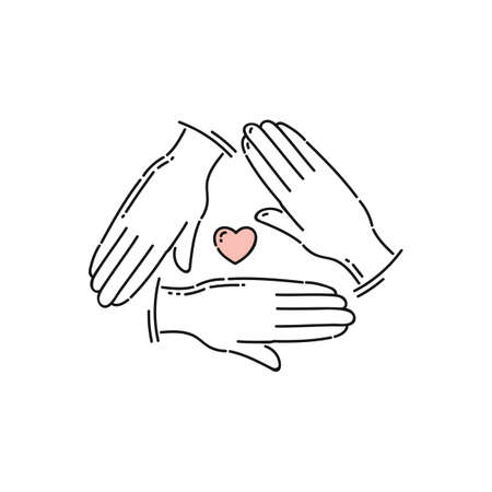Community care and charity icon - three hands triangle with heart symbol in the middle. Flat line art for volunteer help and love and friendship sign, isolated vector illustration